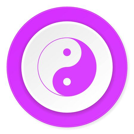 ying and yang: ying yang violet pink circle 3d modern flat design icon on white background