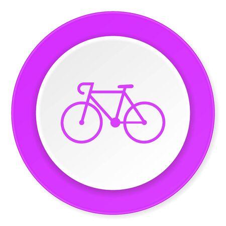 original bike: bicycle violet pink circle 3d modern flat design icon on white background
