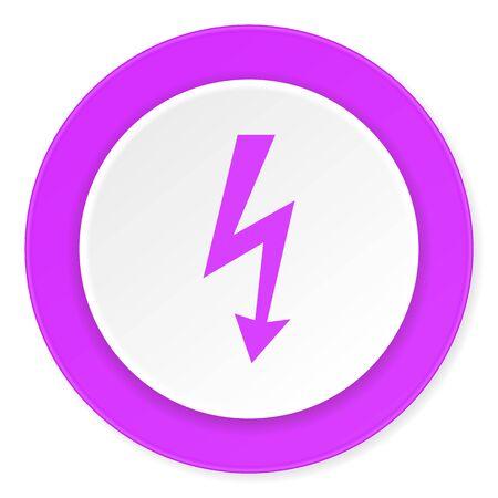 3d  bolt: bolt violet pink circle 3d modern flat design icon on white background