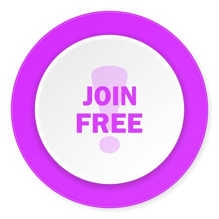 subscribe here: join free violet pink circle 3d modern flat design icon on white background