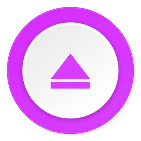eject: eject violet pink circle 3d modern flat design icon on white background