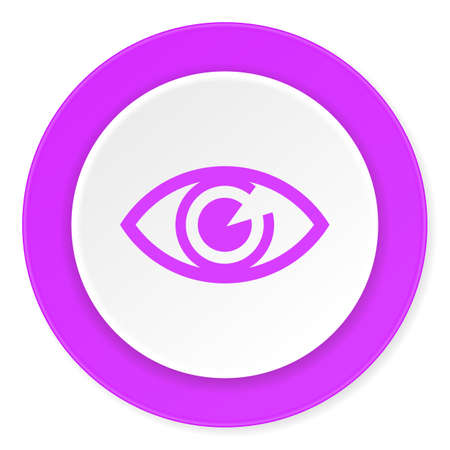 eye 3d: eye violet pink circle 3d modern flat design icon on white background