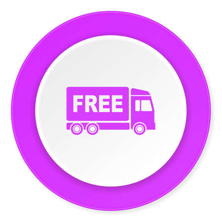 complimentary: free delivery violet pink circle 3d modern flat design icon on white background