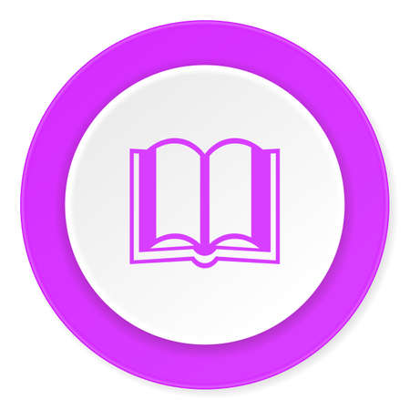 guestbook: book violet pink circle 3d modern flat design icon on white background