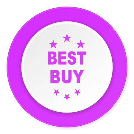 best buy: best buy violet pink circle 3d modern flat design icon on white background