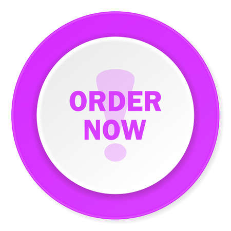 order now: order now violet pink circle 3d modern flat design icon on white background