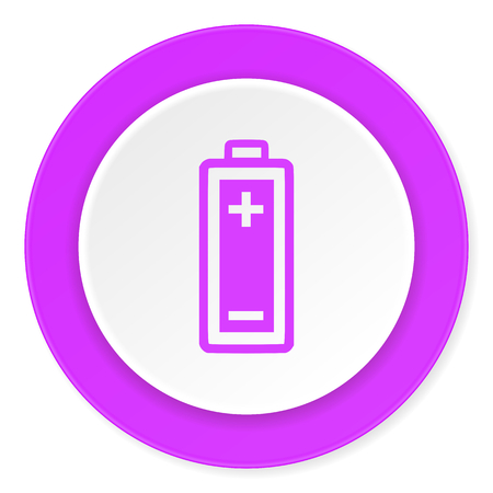 accuse: battery violet pink circle 3d modern flat design icon on white background