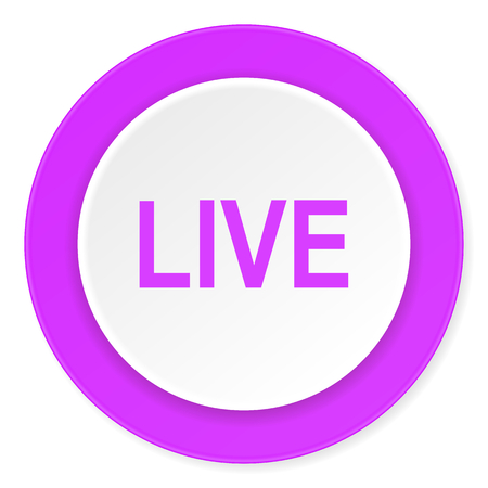 news cast: live violet pink circle 3d modern flat design icon on white background Stock Photo