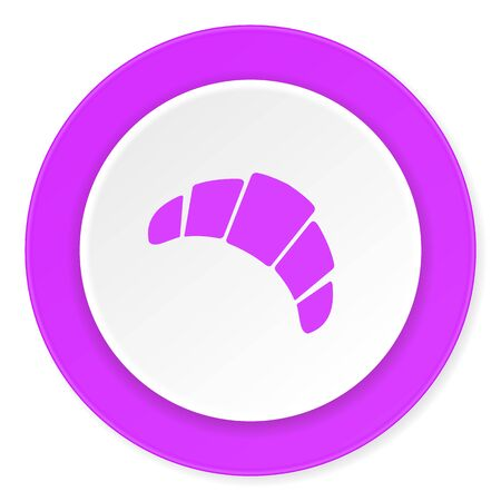 traditionally: croissant violet pink circle 3d modern flat design icon on white background