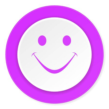 yea: smile violet pink circle 3d modern flat design icon on white background