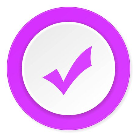 yea: accept violet pink circle 3d modern flat design icon on white background
