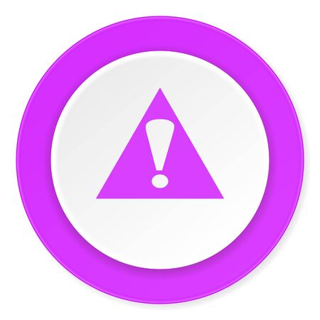 exclamation icon: exclamation sign violet pink circle 3d modern flat design icon on white background Stock Photo