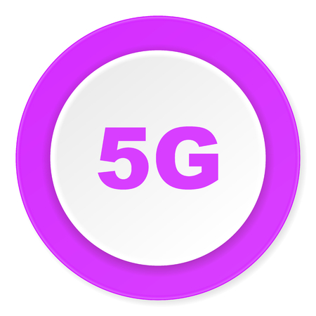 5g: 5g violet pink circle 3d modern flat design icon on white background