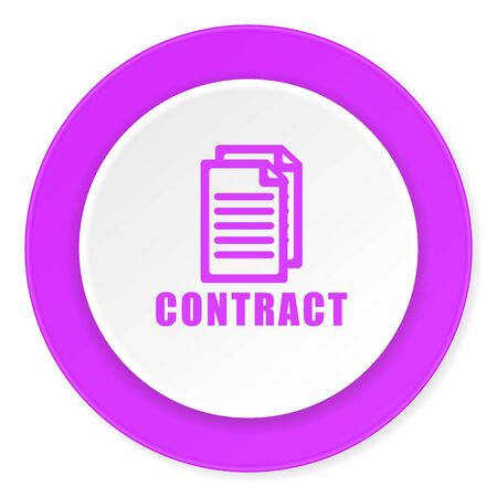 icom: contract violet pink circle 3d modern flat design icon on white background Stock Photo