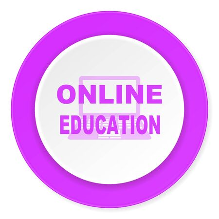 online education: online education violet pink circle 3d modern flat design icon on white background