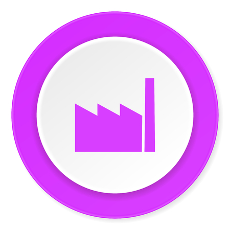 industrialist: factory violet pink circle 3d modern flat design icon on white background Stock Photo