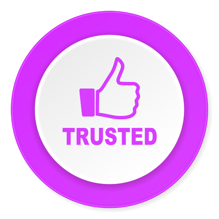 trusted: trusted violet pink circle 3d modern flat design icon on white background