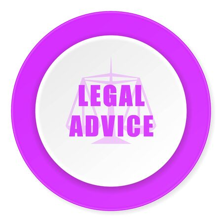 judiciary: legal advice violet pink circle 3d modern flat design icon on white background