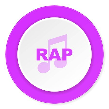 black rapper: rap music violet pink circle 3d modern flat design icon on white background Stock Photo