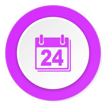 appointment book: calendar violet pink circle 3d modern flat design icon on white background
