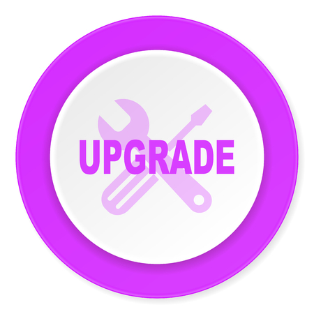 refreshed: upgrade violet pink circle 3d modern flat design icon on white background Stock Photo