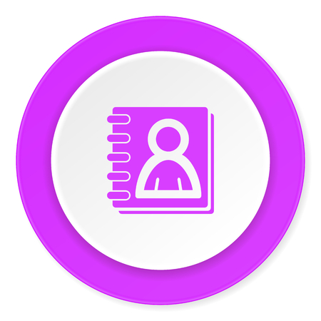 address book violet pink circle 3d modern flat design icon on white background