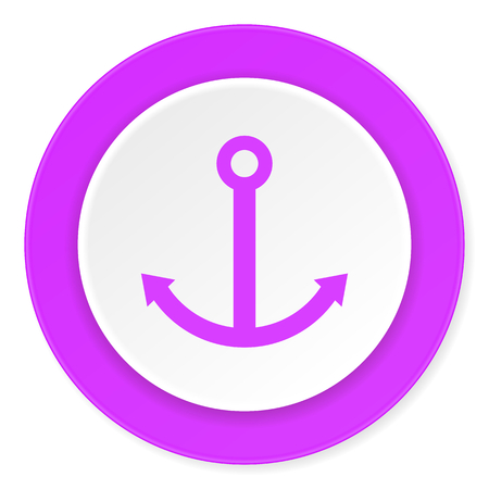 quay: anchor violet pink circle 3d modern flat design icon on white background Stock Photo