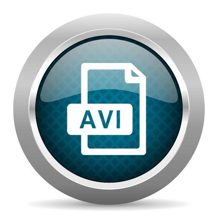 avi: avi file blue silver chrome border icon on white background