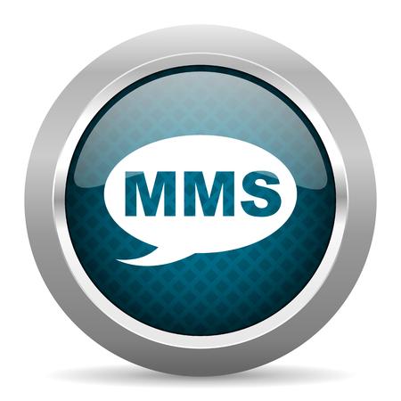 mms: mms blue silver chrome border icon on white background