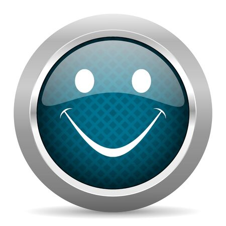 chrome border: smile blue silver chrome border icon on white background