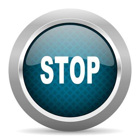 proscribed: stop blue silver chrome border icon on white background Stock Photo