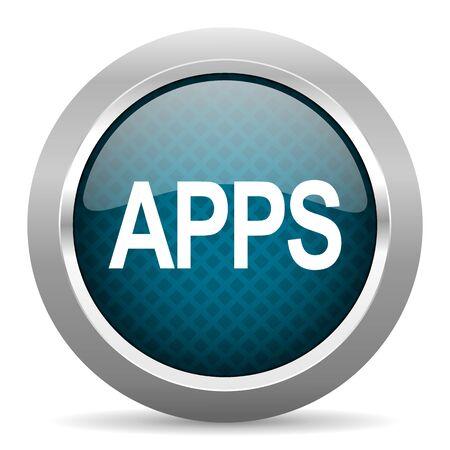 chrome border: apps blue silver chrome border icon on white background Stock Photo