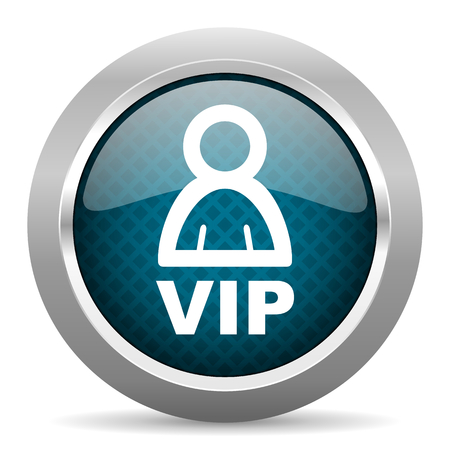private club: vip blue silver chrome border icon on white background