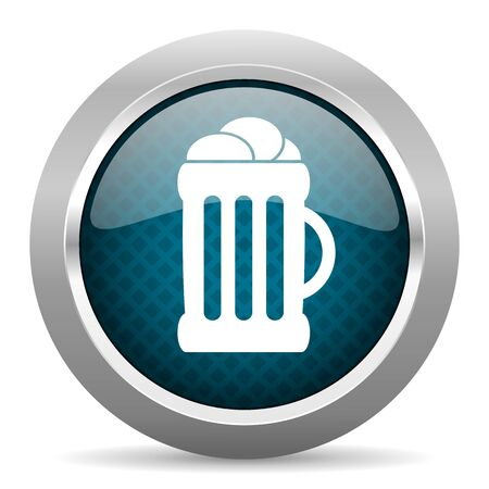 cereal bar: beer blue silver chrome border icon on white background