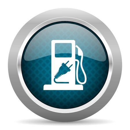 chrome border: fuel blue silver chrome border icon on white background