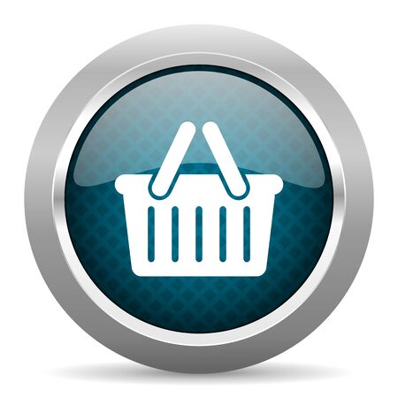 chrome cart: cart blue silver chrome border icon on white background