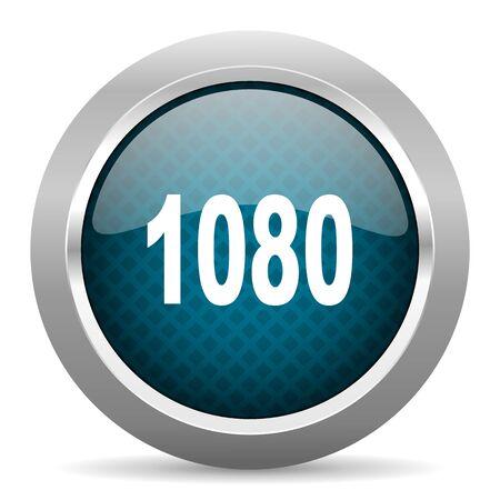 chrome border: 1080 blue silver chrome border icon on white background Stock Photo