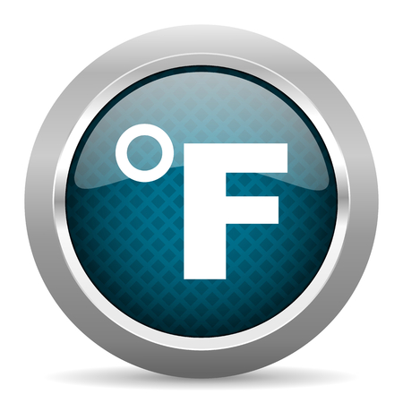 fahrenheit: fahrenheit blue silver chrome border icon on white background