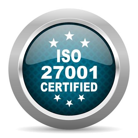 standard steel: iso 27001 blue silver chrome border icon on white background Stock Photo