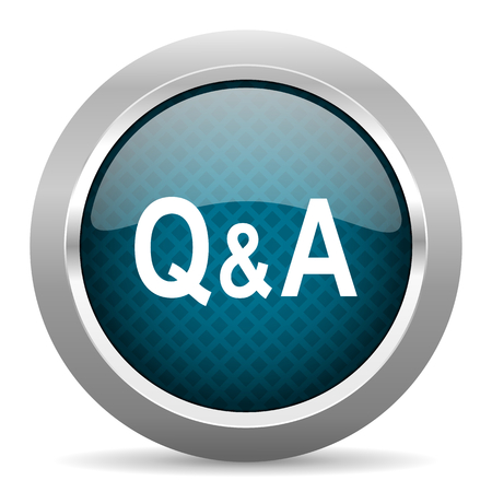question and answer: question answer blue silver chrome border icon on white background Stock Photo