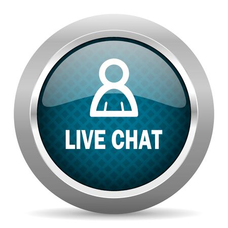 chrome border: live chat blue silver chrome border icon on white background
