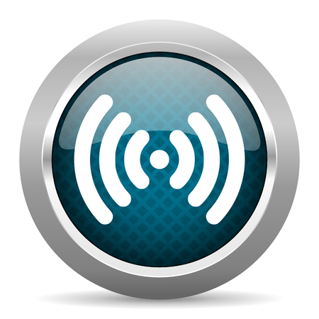 internet icon: wifi blue silver chrome border icon on white background