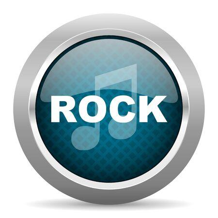 chrome border: rock music blue silver chrome border icon on white background