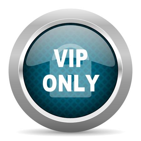 chrome border: vip only blue silver chrome border icon on white background Stock Photo