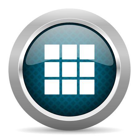 thumbnails: thumbnails grid blue silver chrome border icon on white background Stock Photo
