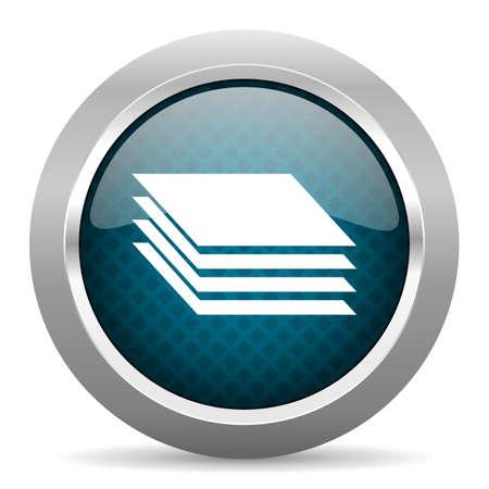 chrome border: layers blue silver chrome border icon on white background Stock Photo