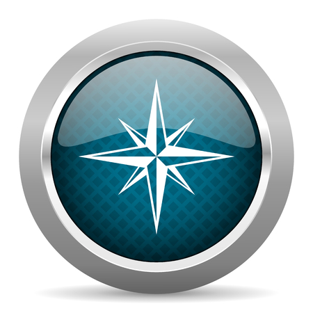 internet explorer: compass blue silver chrome border icon on white background