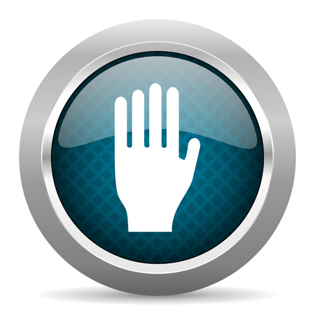 stop icon: stop blue silver chrome border icon on white background Stock Photo