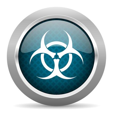 varez: biohazard blue silver chrome border icon on white background