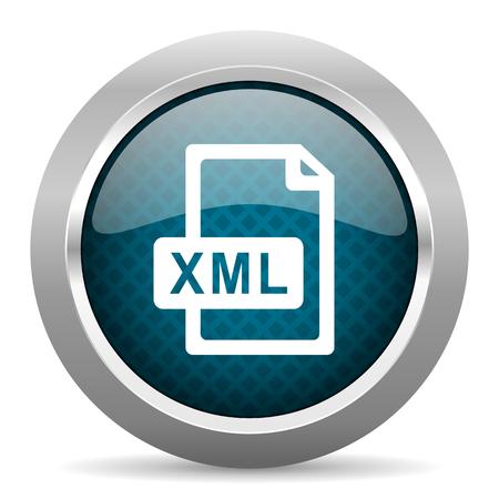 xml: xml file blue silver chrome border icon on white background Stock Photo
